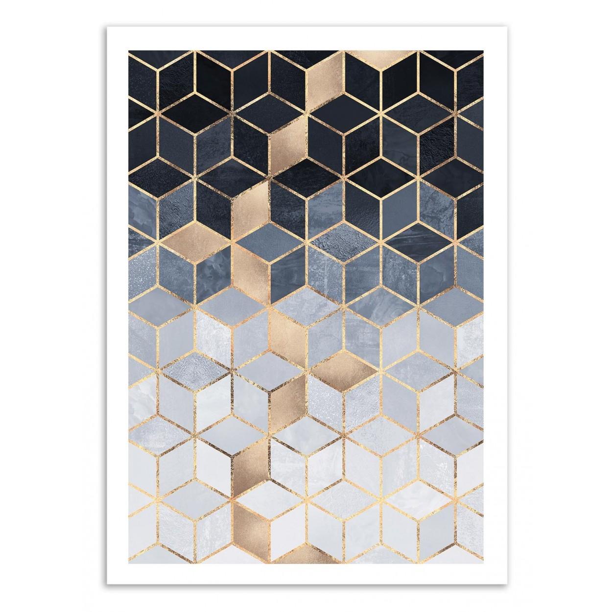 SOFT BLUE GRADIENT CUBES - Affiche d'art 50 x 70 cm