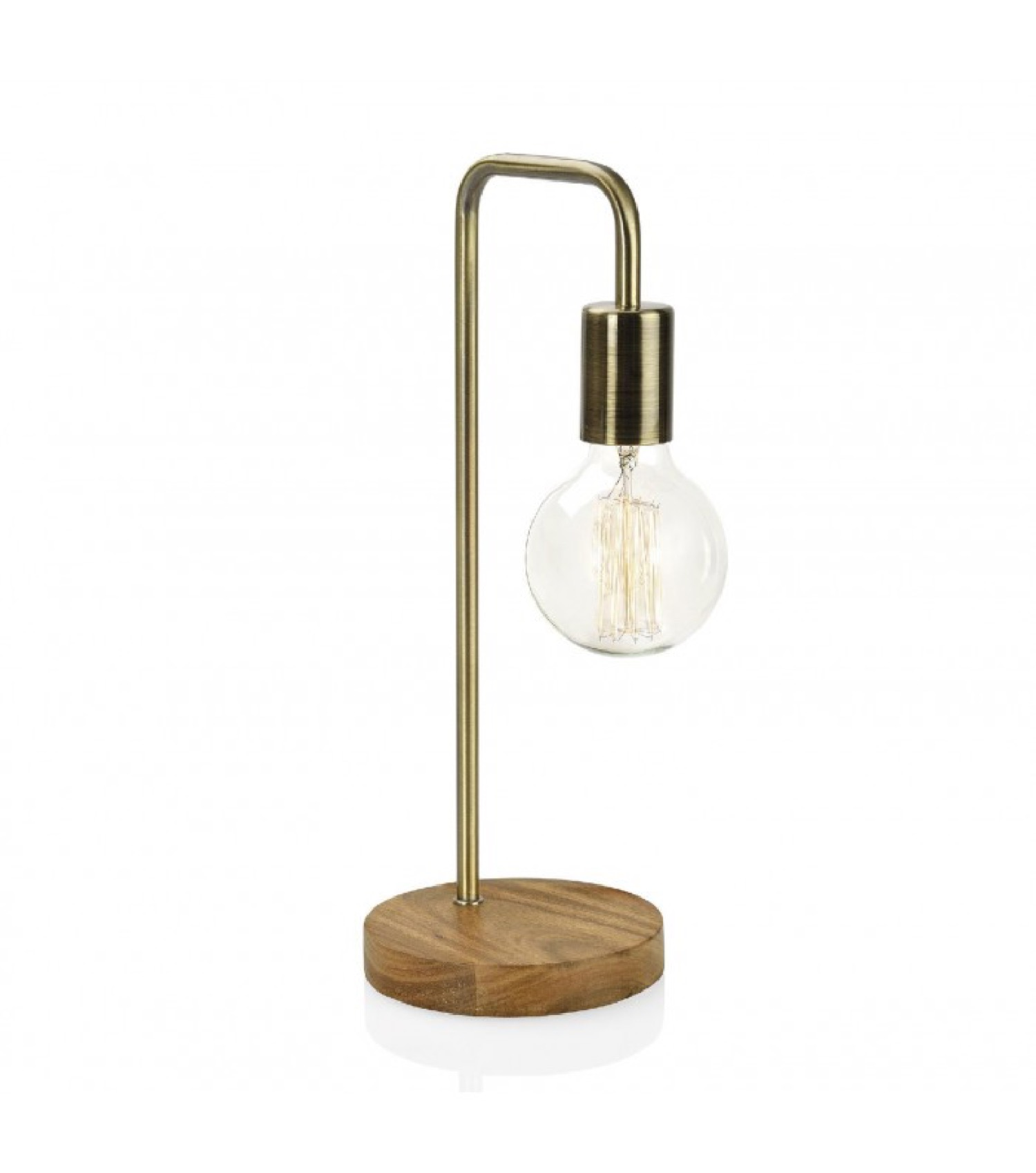Lampe à poser design en bois et laiton