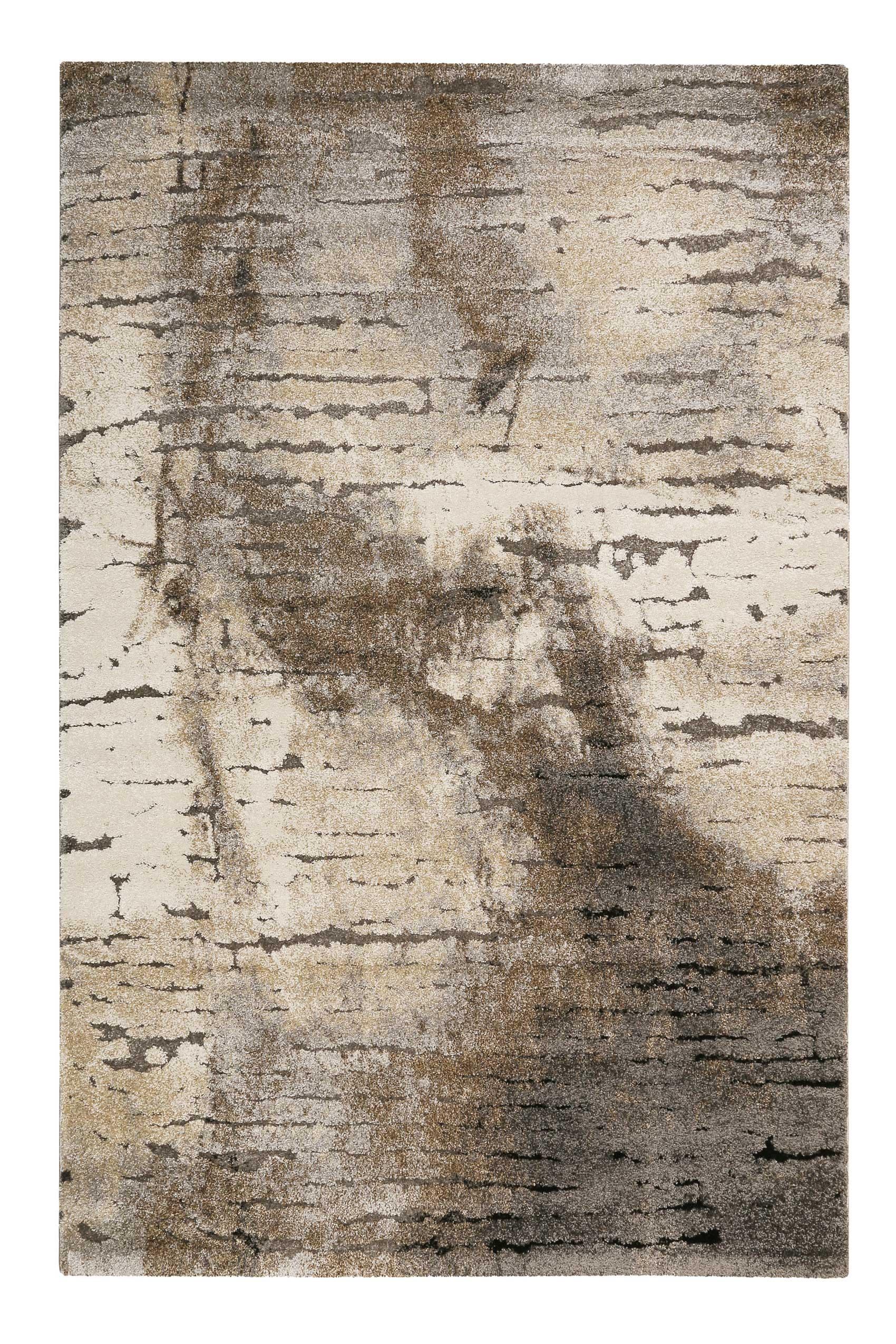 Tapis motif effet mur béton pour salon, chambre gris/brun 170x120