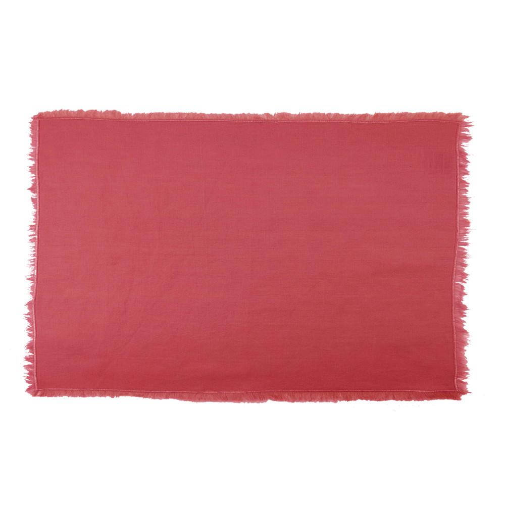 Set métis lin & coton rouge 43X33