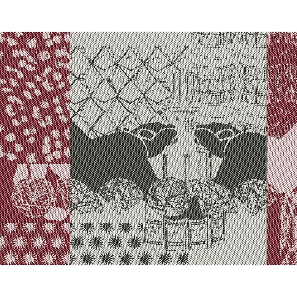 Set antitache déperlant pur coton bordeaux 35x45