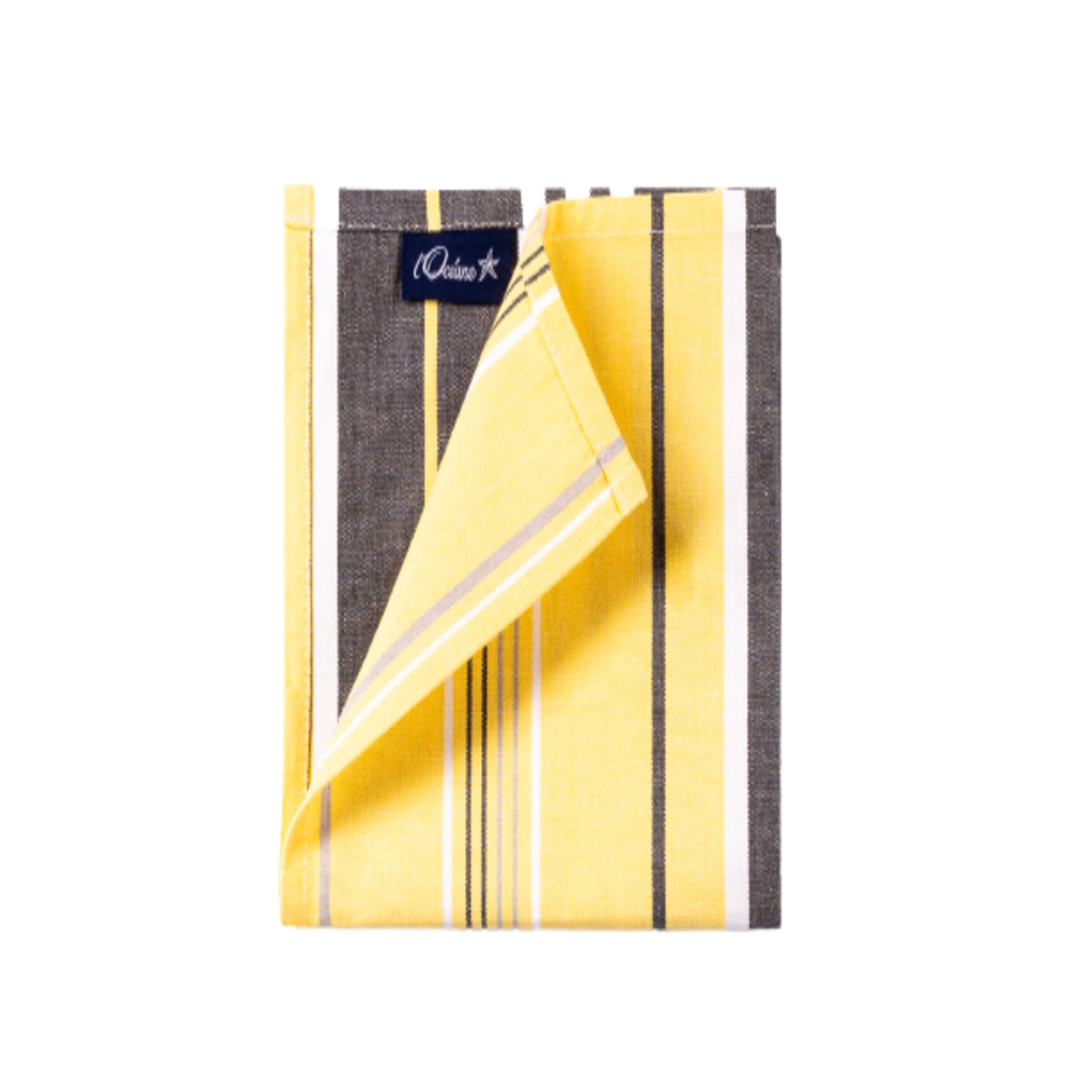1 lot de 6 serviettes de table 100% coton jaune 36 x 36 cm