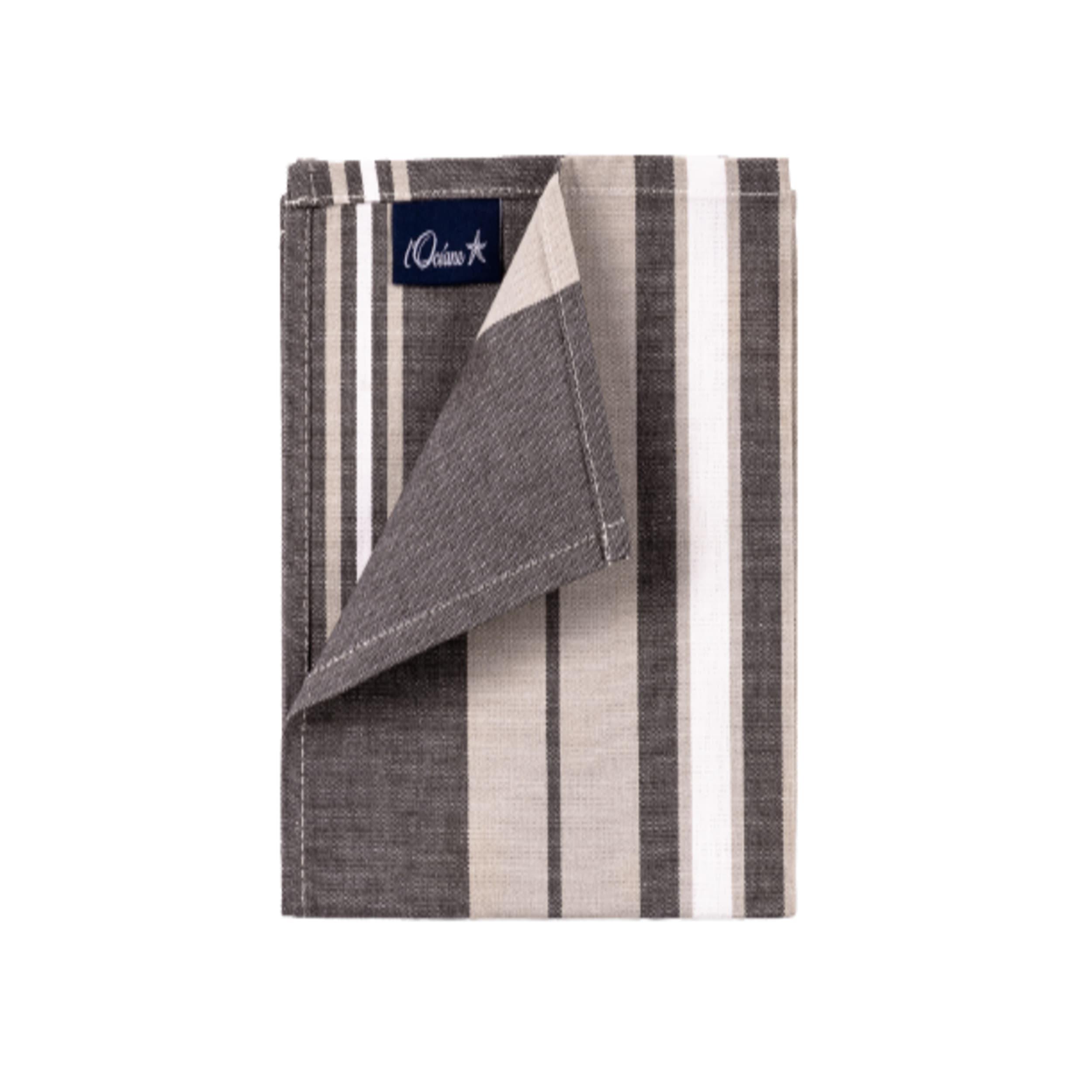 1 lot de 6 serviettes de table 100% coton gris 36 x 36 cm