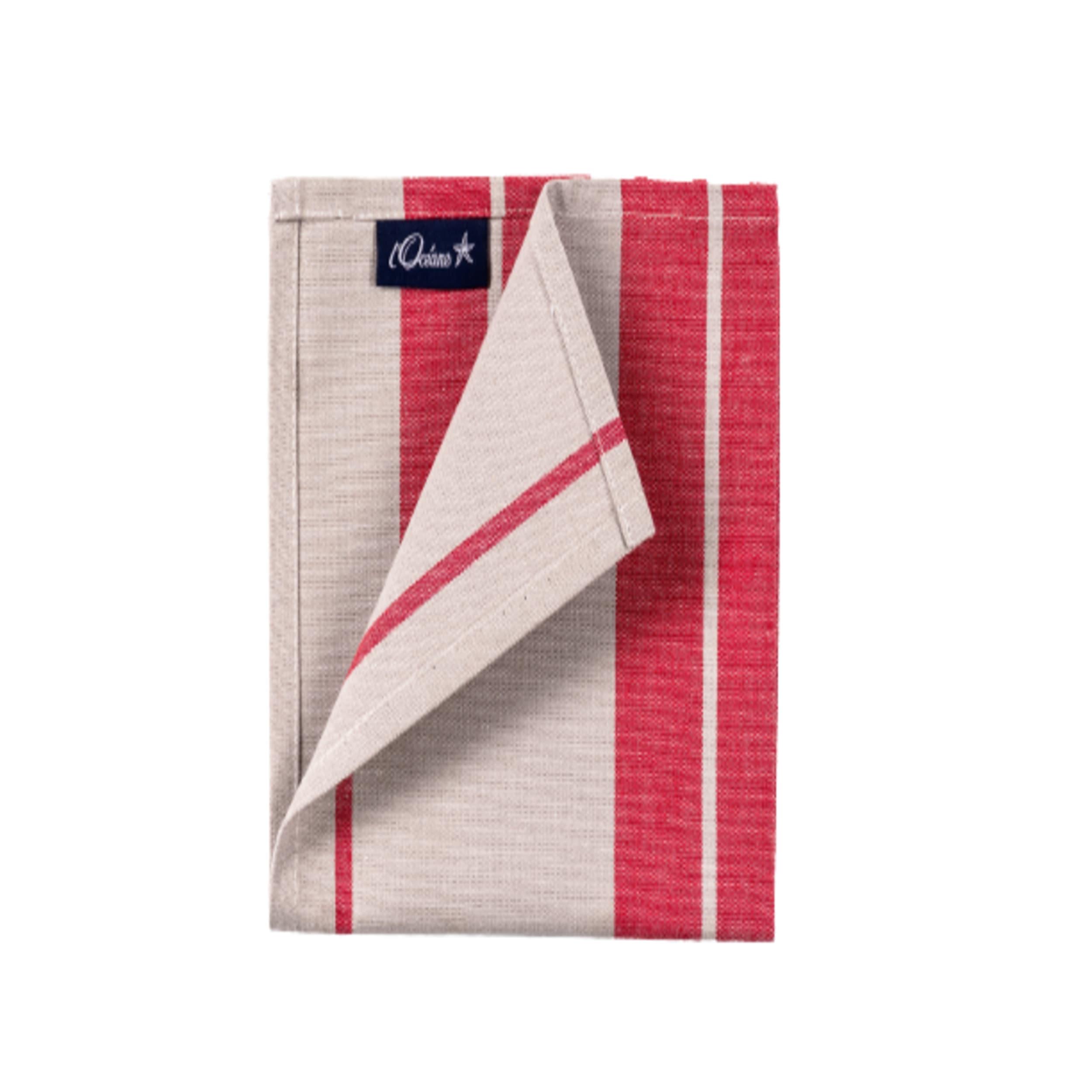 1 lot de 6 serviettes de table 100% coton rouge 50 x 50 cm