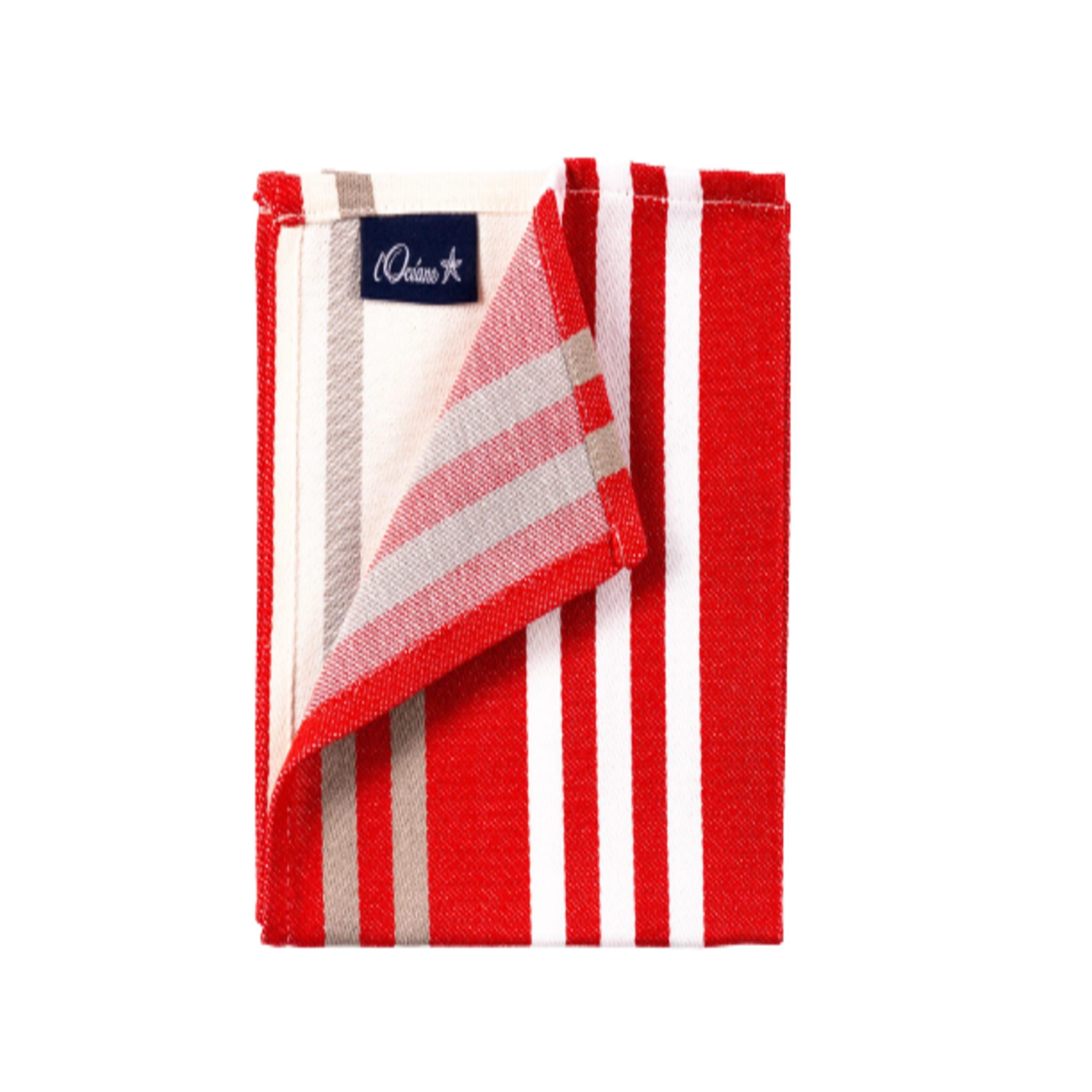 1 lot de 6 serviettes de table 100% coton de satin rouge 50 x 50 cm