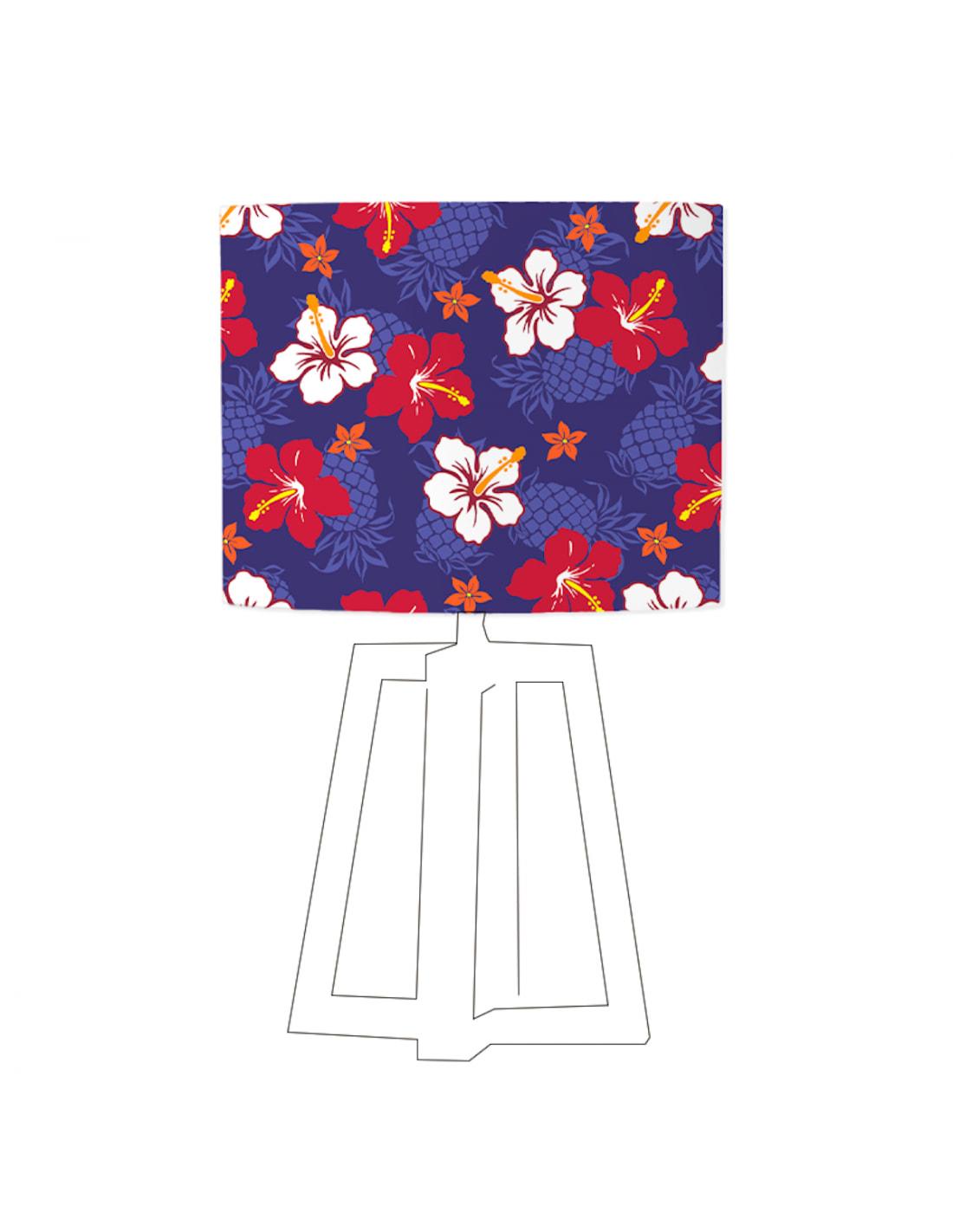 Abat-jour bleu imprimé rouge et blanc D 35 cm