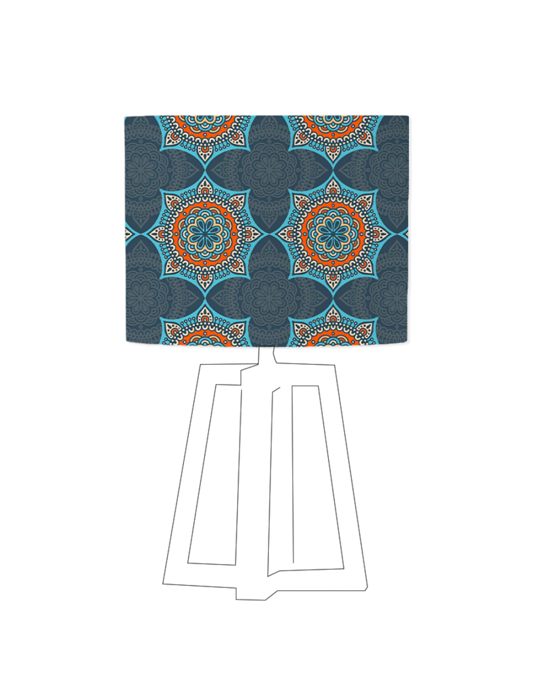 Abat-jour bleu imprimé orange d 20 cm