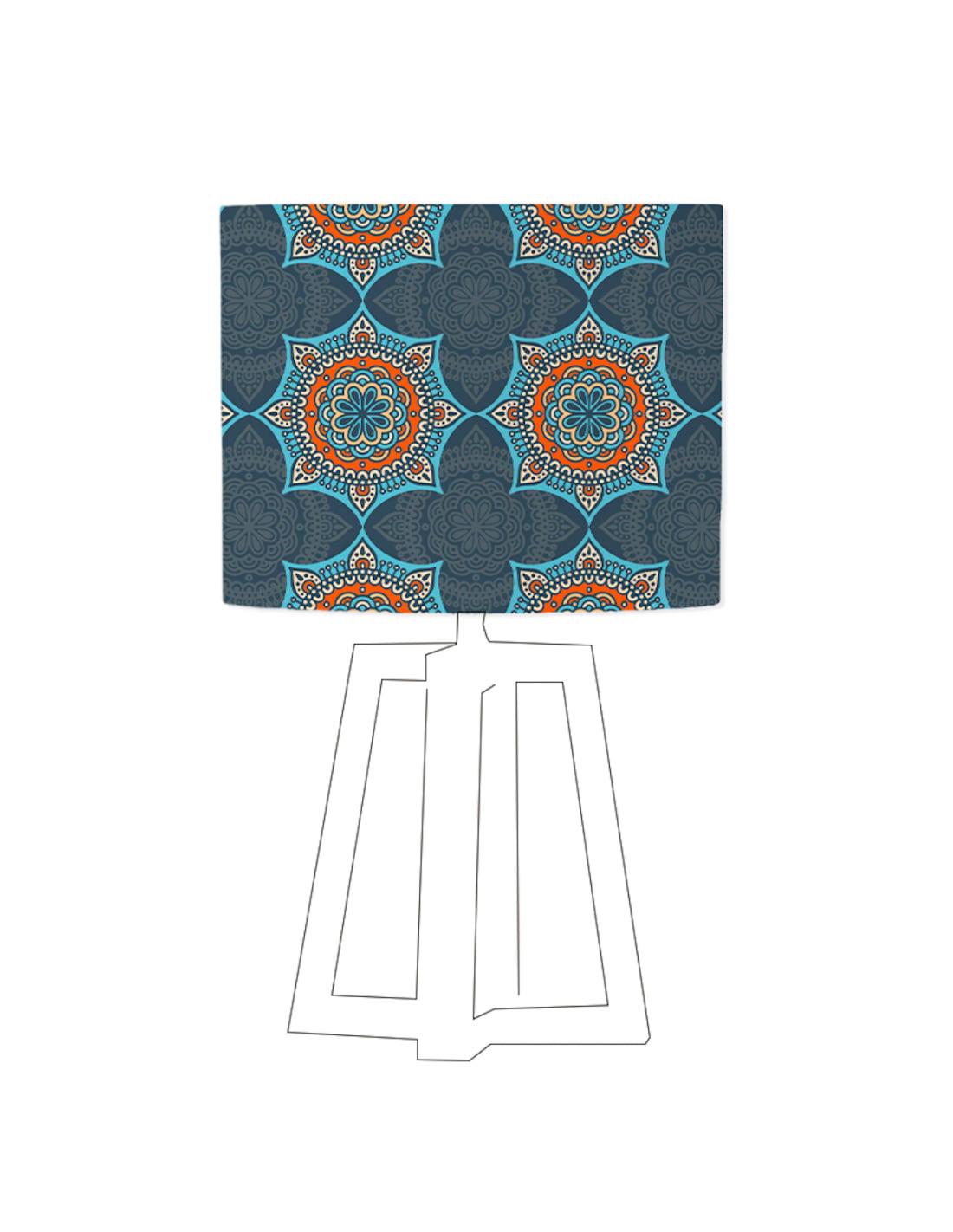 Abat-jour bleu imprimé orange d 45 cm