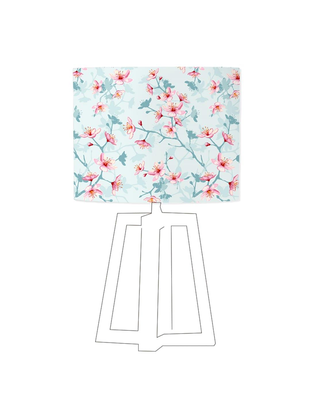 Abat-jour bleu imprimé rose d 100 cm