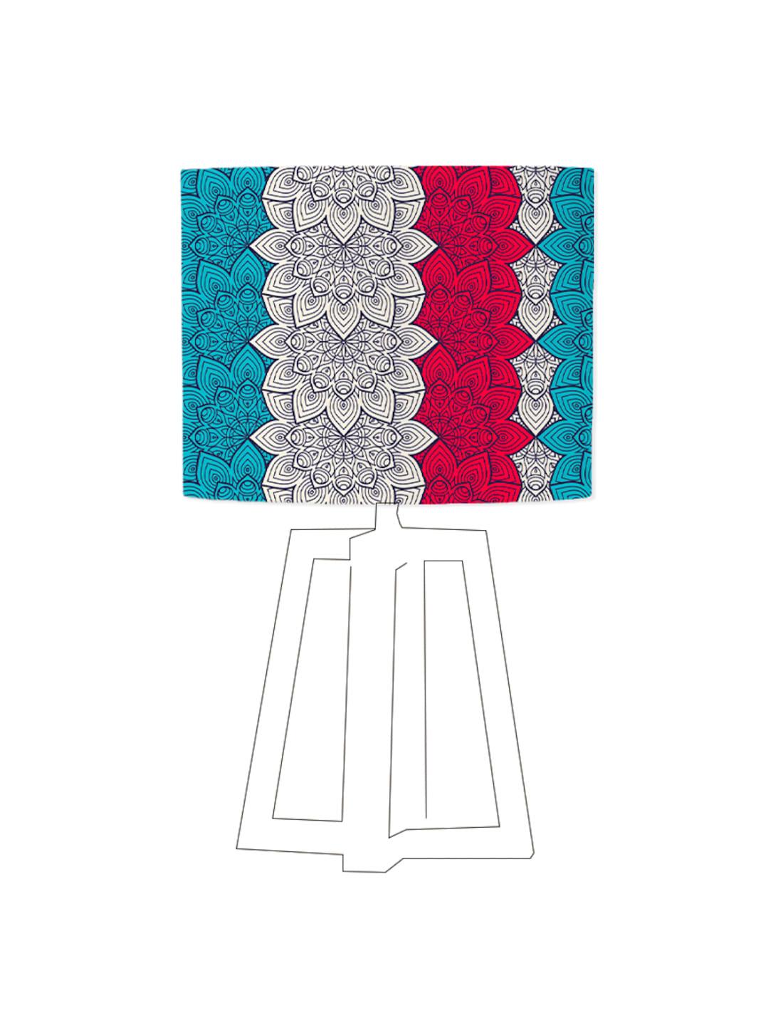 Abat-jour bleu imprimé rouge D 20 cm
