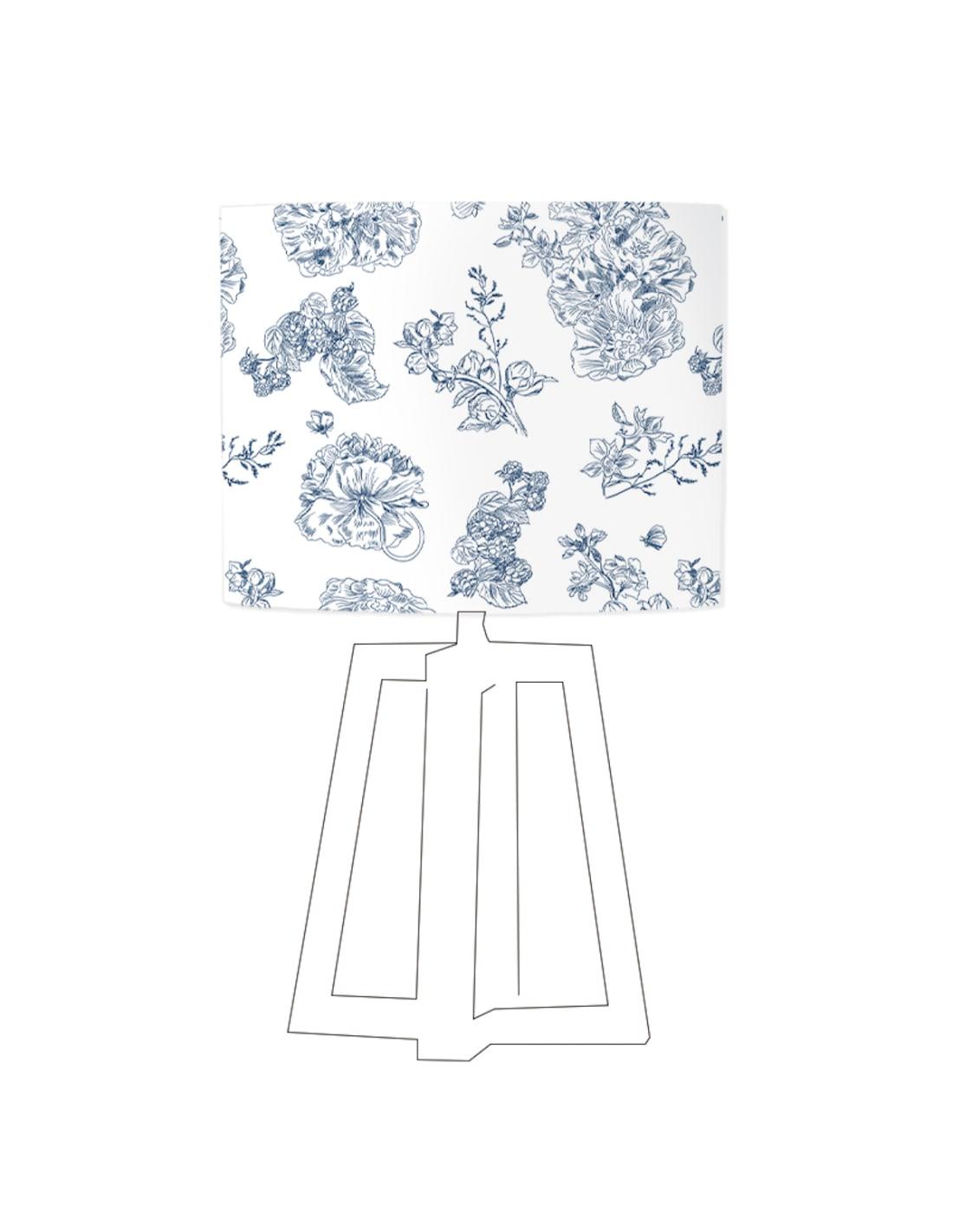 Abat-jour blanc imprimé bleu d 80 cm