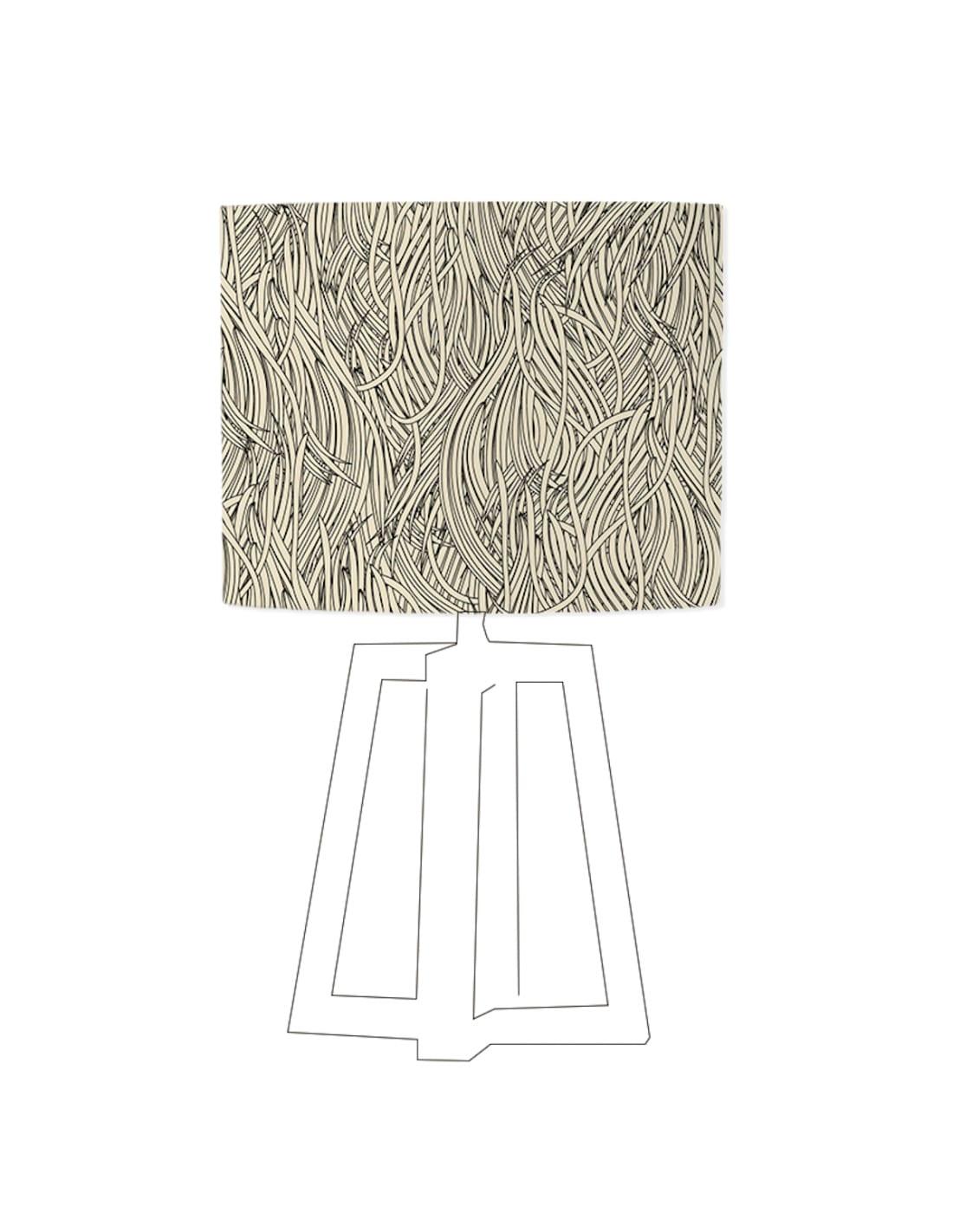 Abat-jour beige imprimé noir d 80 cm