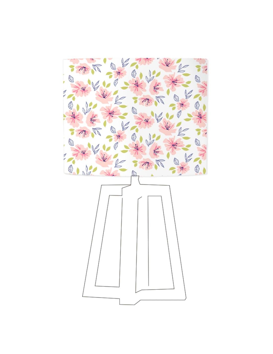 Abat-jour blanc imprimé rose D 80 cm