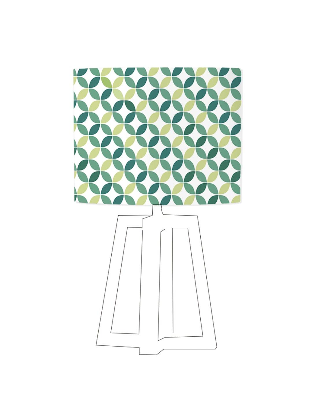 Abat-jour blanc imprimé vert d 60 cm