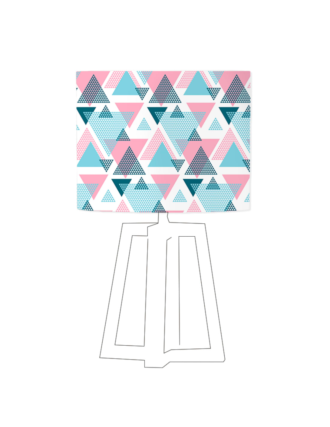Abat-jour blanc imprimé bleu d 45 cm