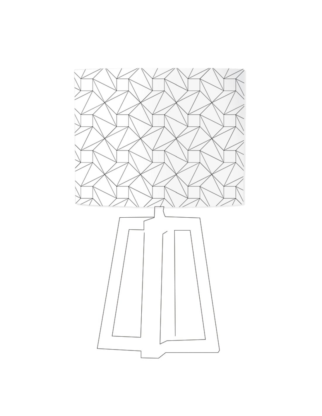Abat-jour blanc imprimé noir D 80 cm