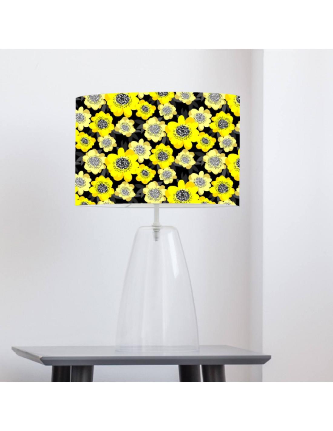 Abat-jour noir imprimé jaune d 45 cm