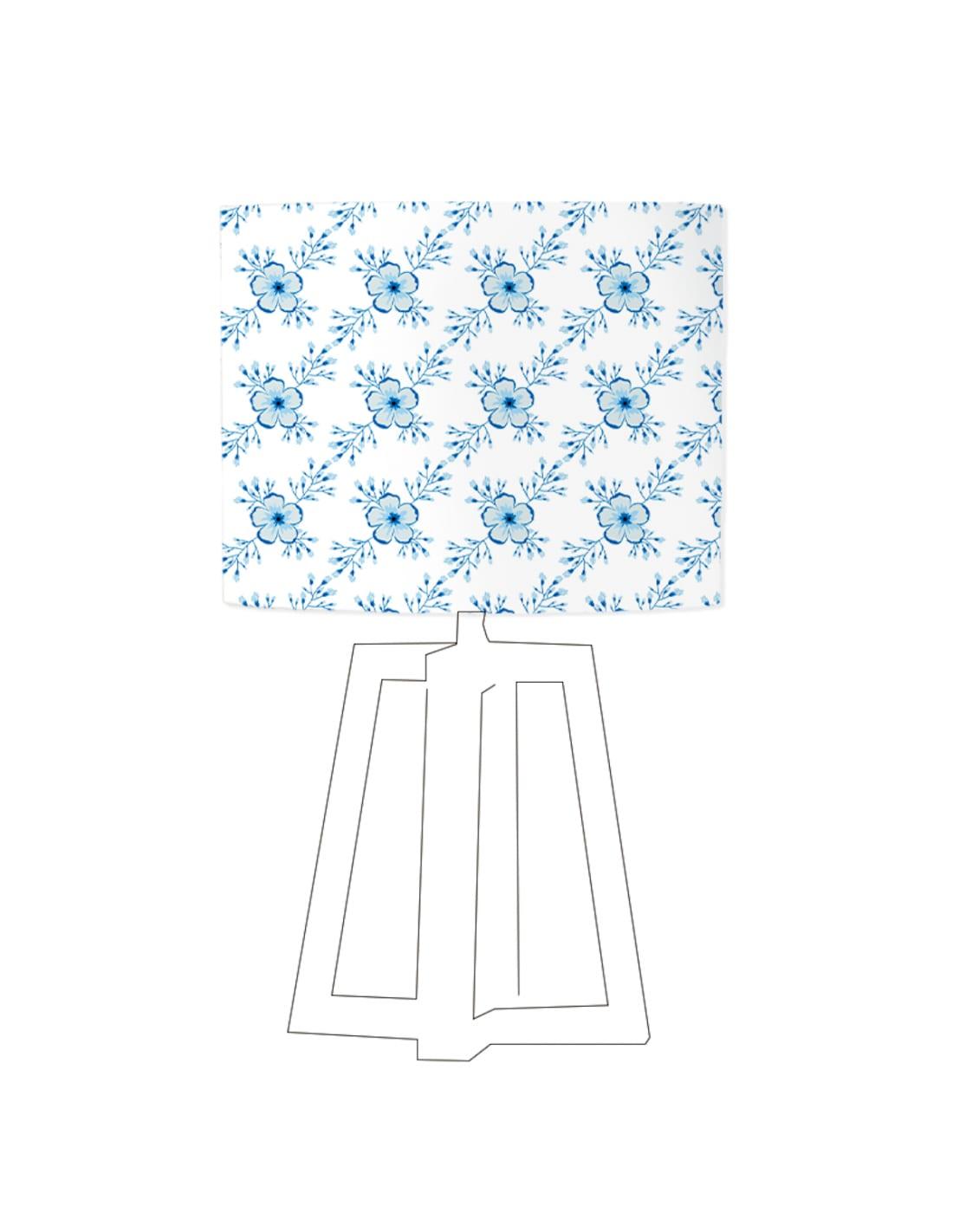 Abat-jour blanc imprimé bleu d 20 cm