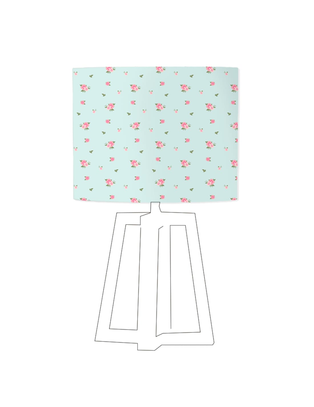 Abat-jour bleu imprimé rose D 60 cm