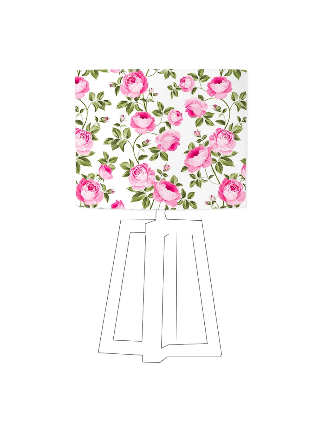 Abat-jour blanc imprimé rose D 20 cm