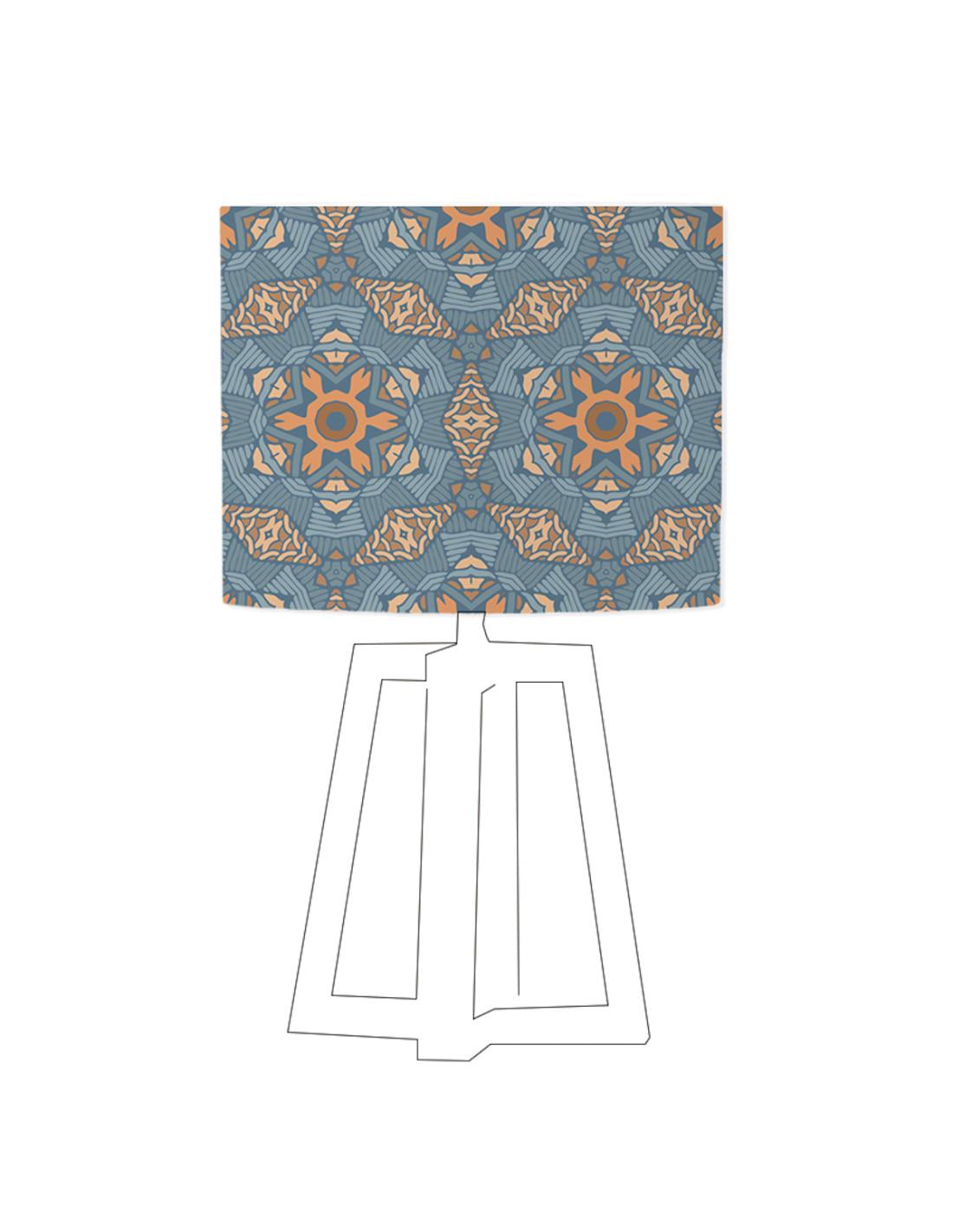 Abat-jour bleu imprimé beige d 60 cm
