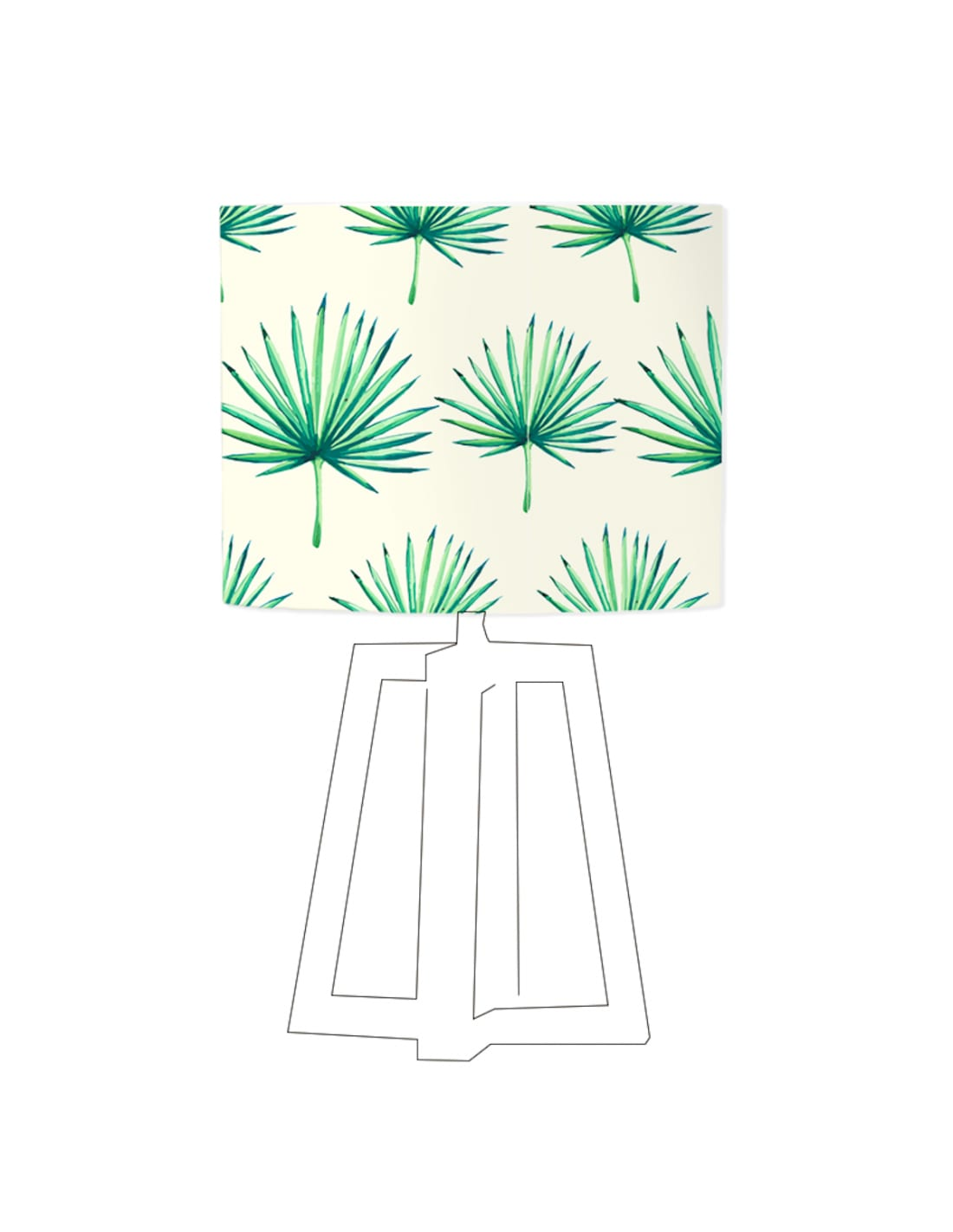 Abat-jour beige imprimé vert d 20 cm