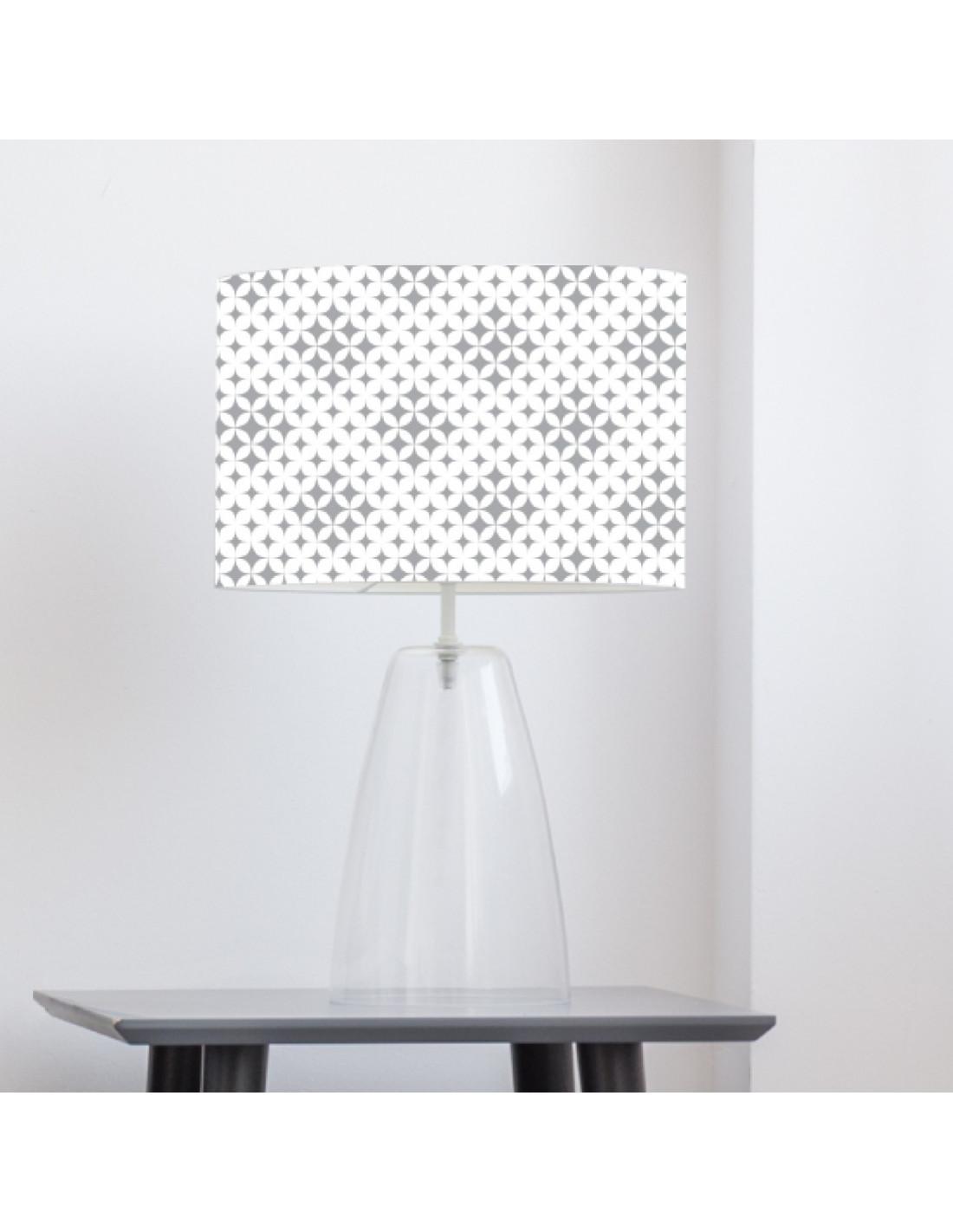 Abat-jour blanc imprimé gris d 60 cm