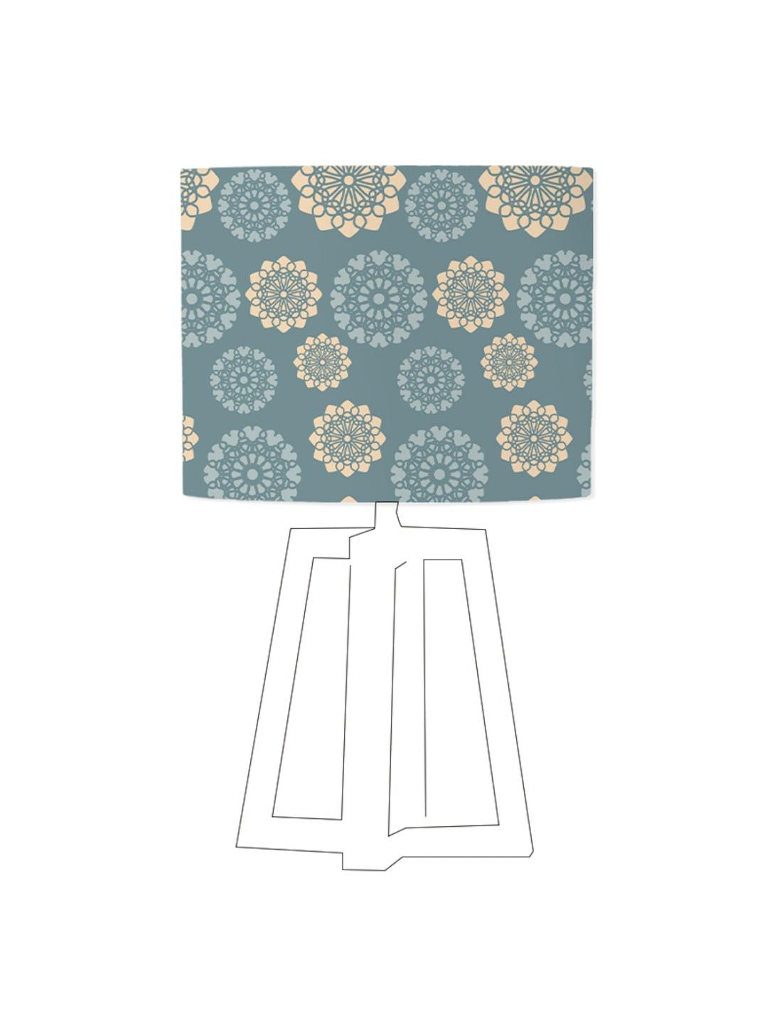 Abat-jour bleu imprimé beige d 45 cm