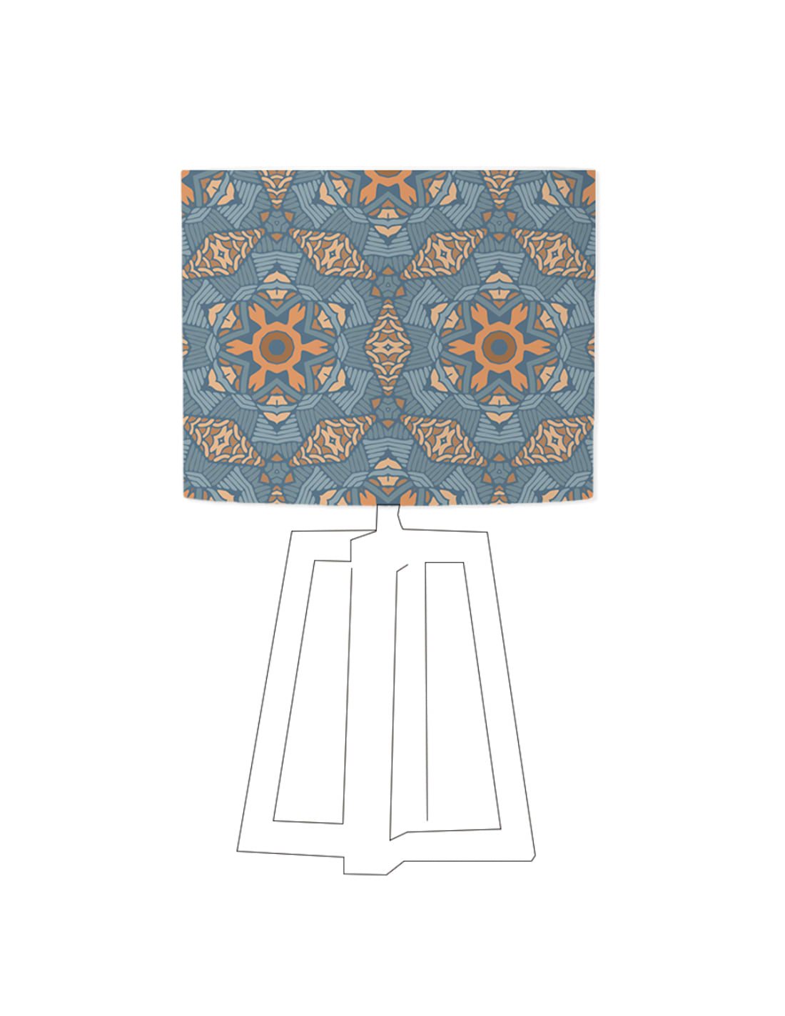Abat-jour bleu imprimé beige d 100 cm