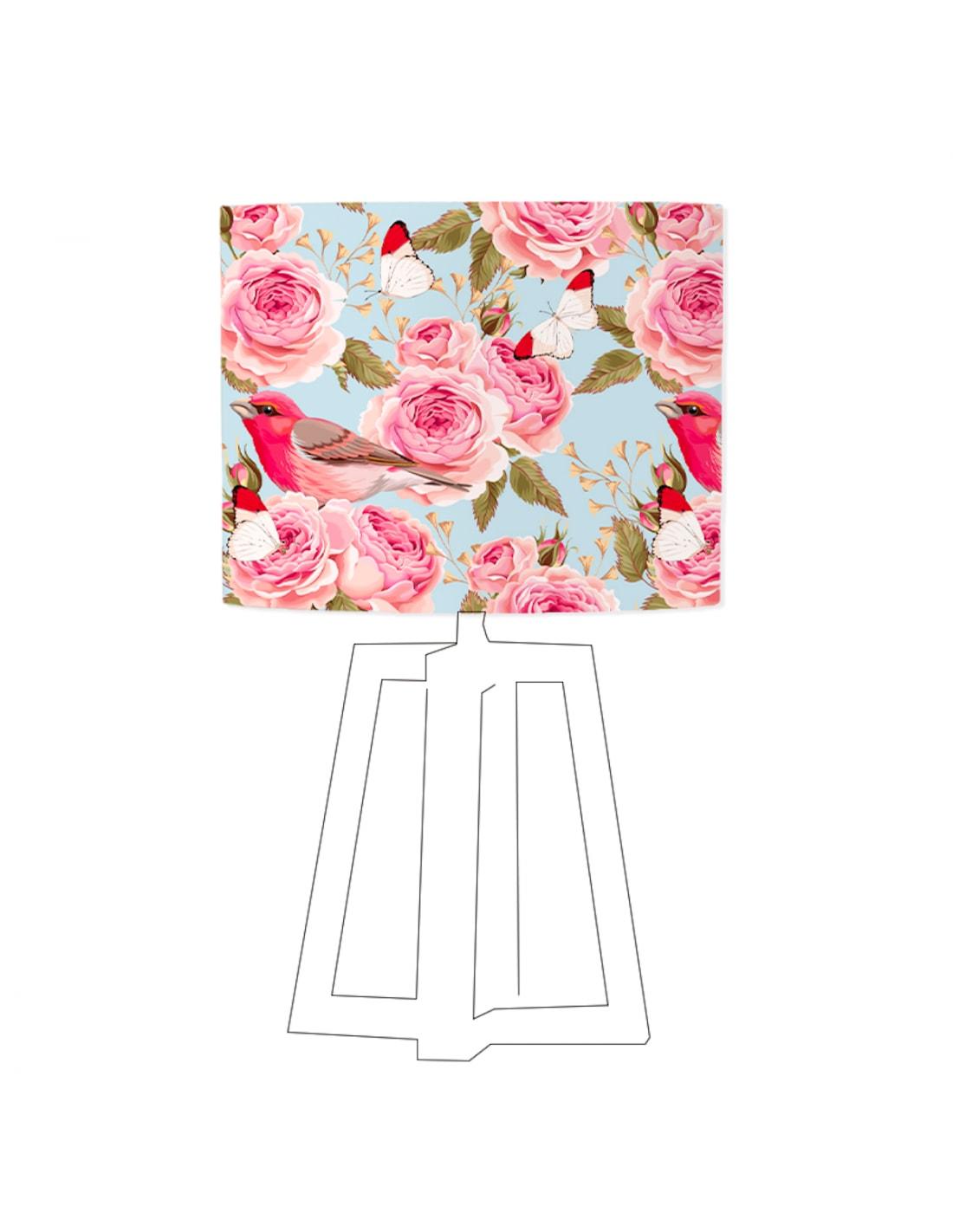 Abat-jour bleu imprimé rose D 20 cm