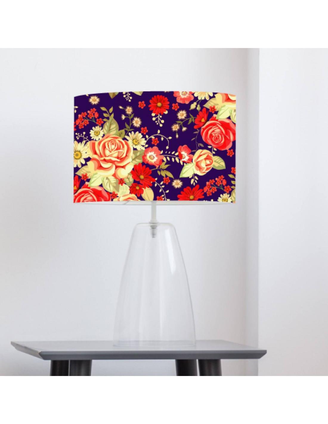 Abat-jour violet imprimé rouge D 45 cm