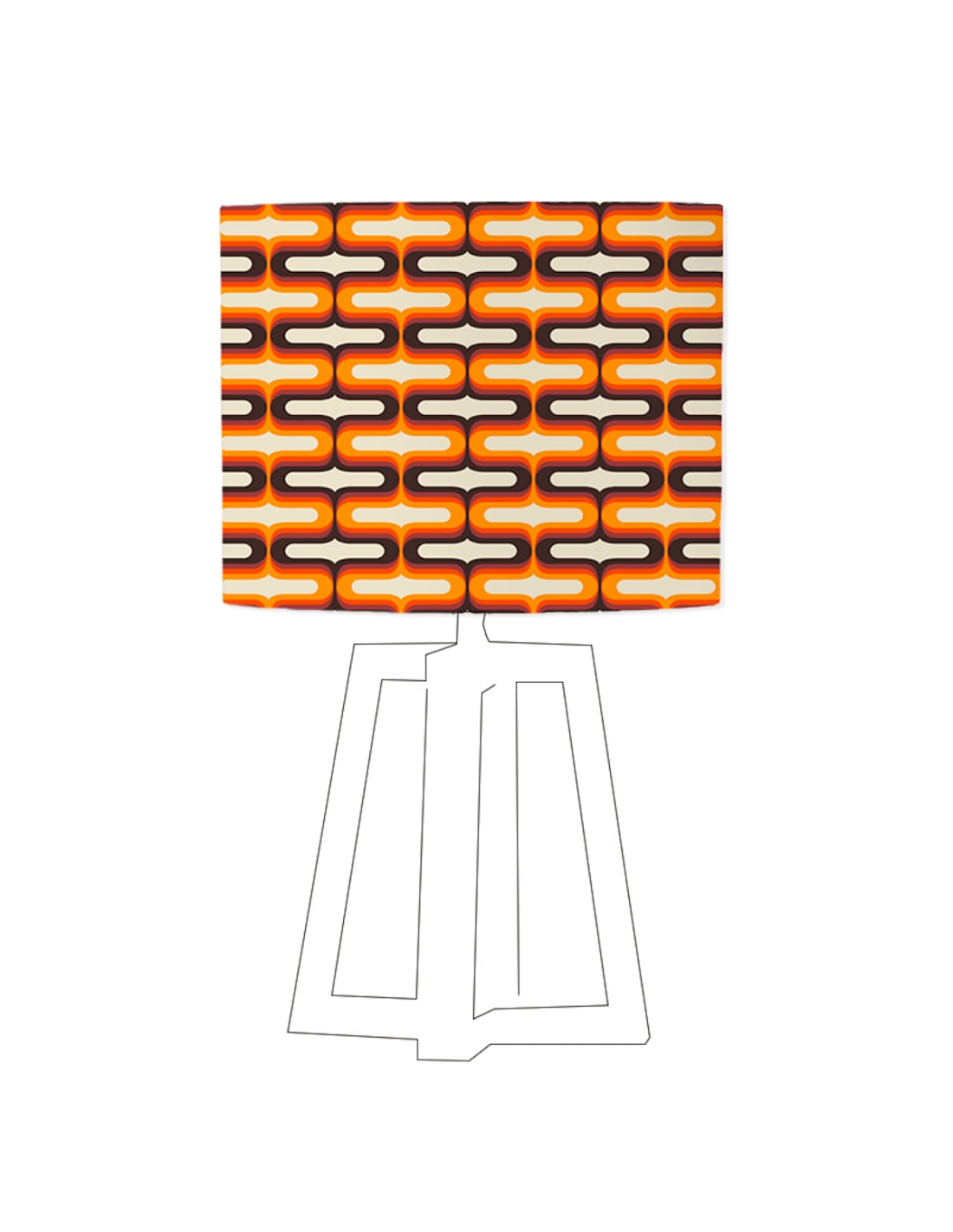 Abat-jour beige imprimé orange d 45 cm