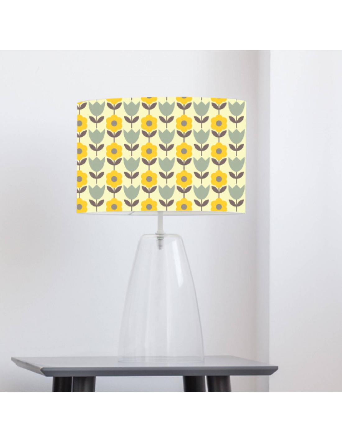 Abat-jour jaune imprimé vert D 60 cm