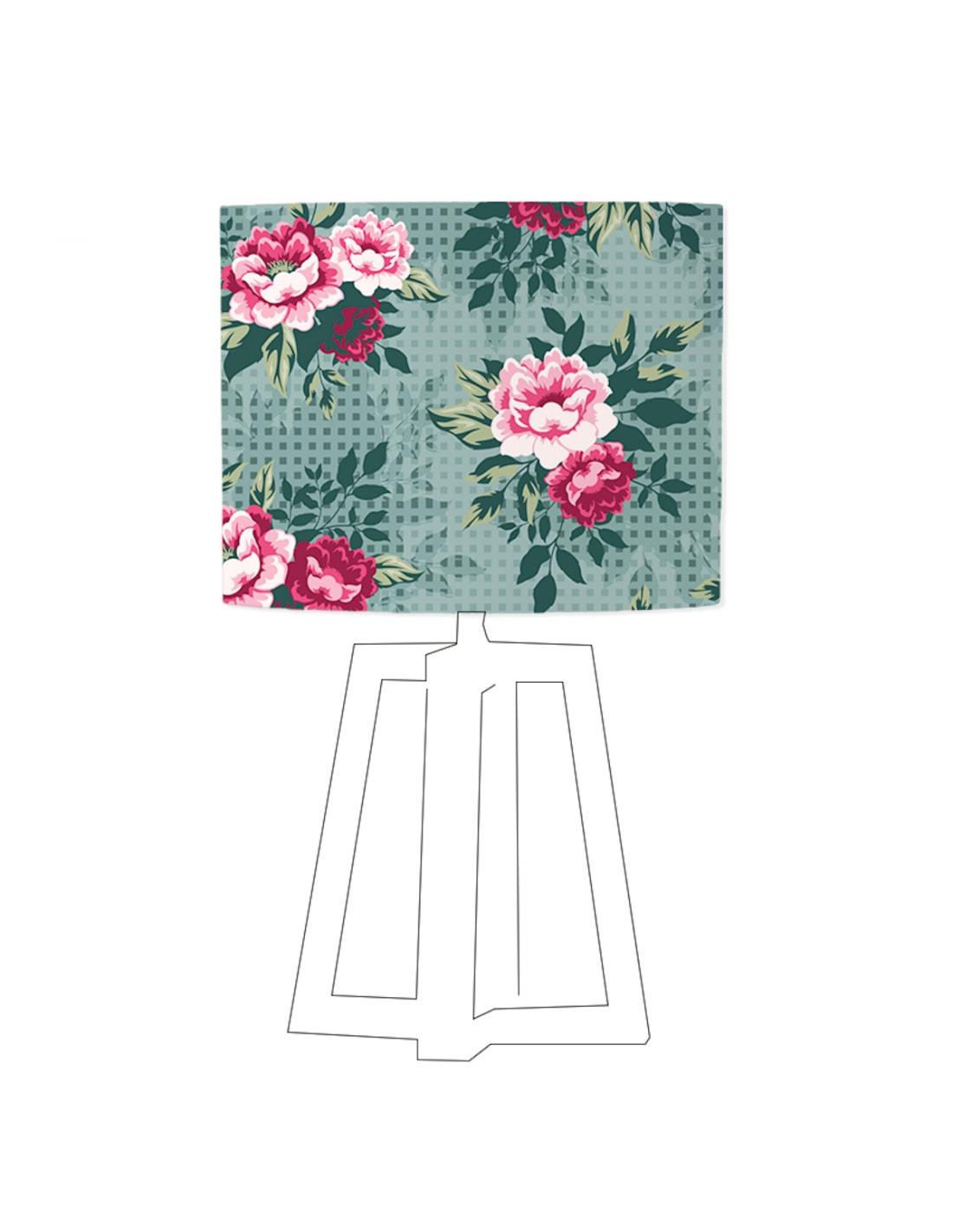 Abat-jour bleu imprimé rose D 35 cm