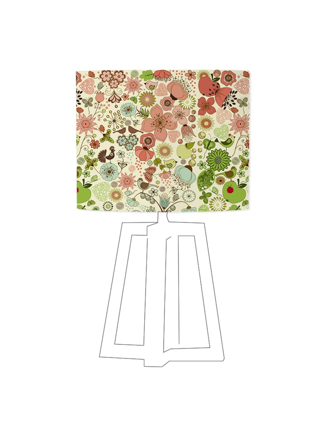 Abat-jour beige imprimé vert d 80 cm