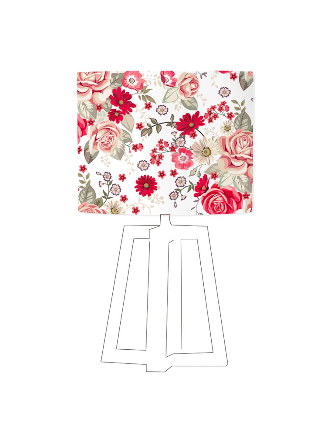 Abat-jour blanc imprimé rouge D 45 cm