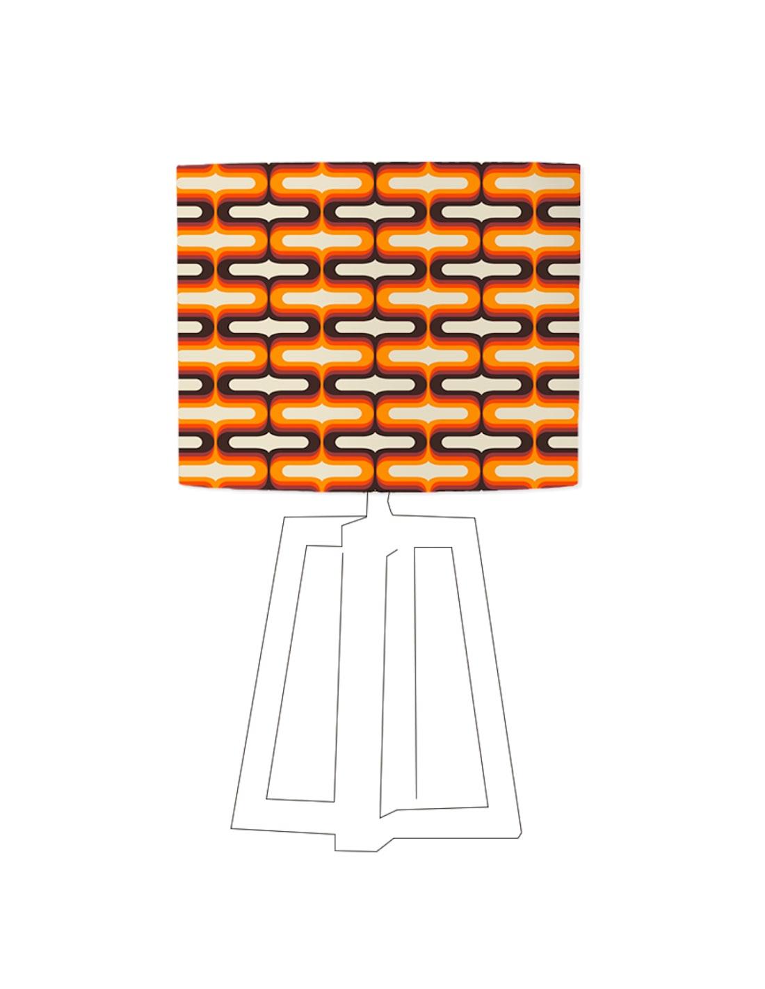 Abat-jour beige imprimé orange d 80 cm