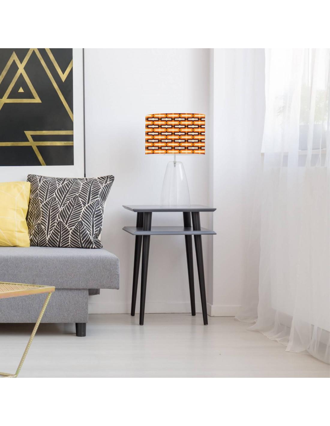Abat-jour beige imprimé orange d 100 cm