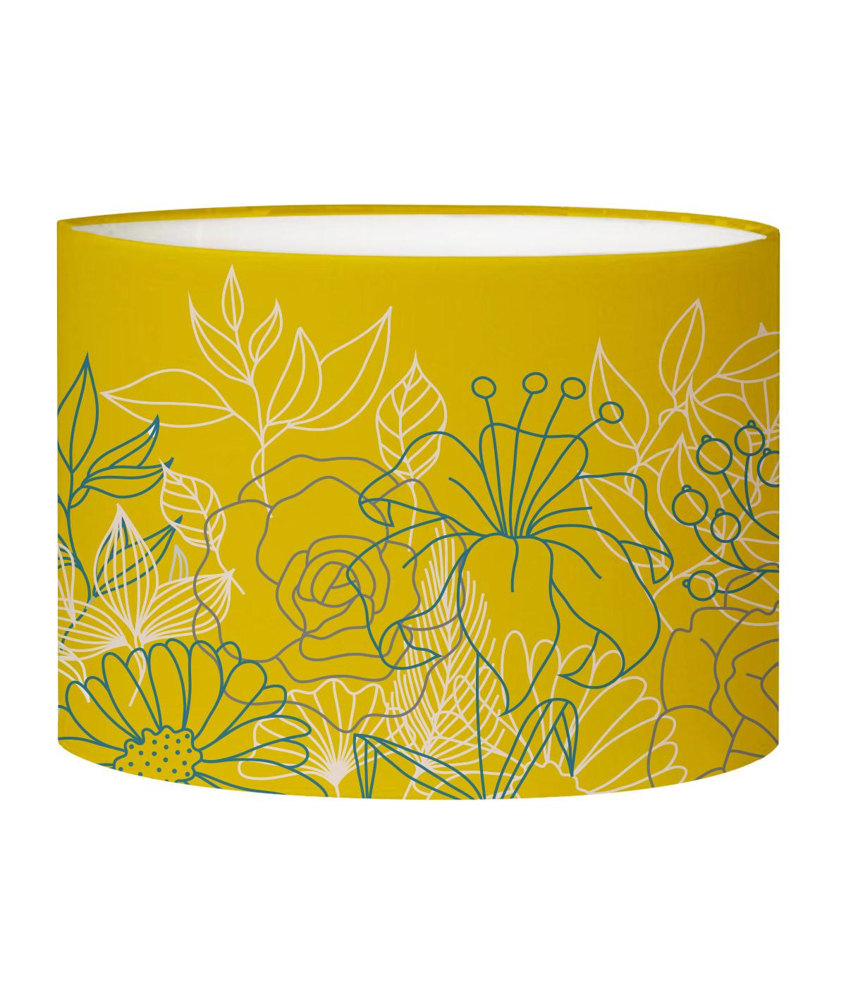 Abat-jour chevet Bouquet Jaune Moutarde D 25 x H 20