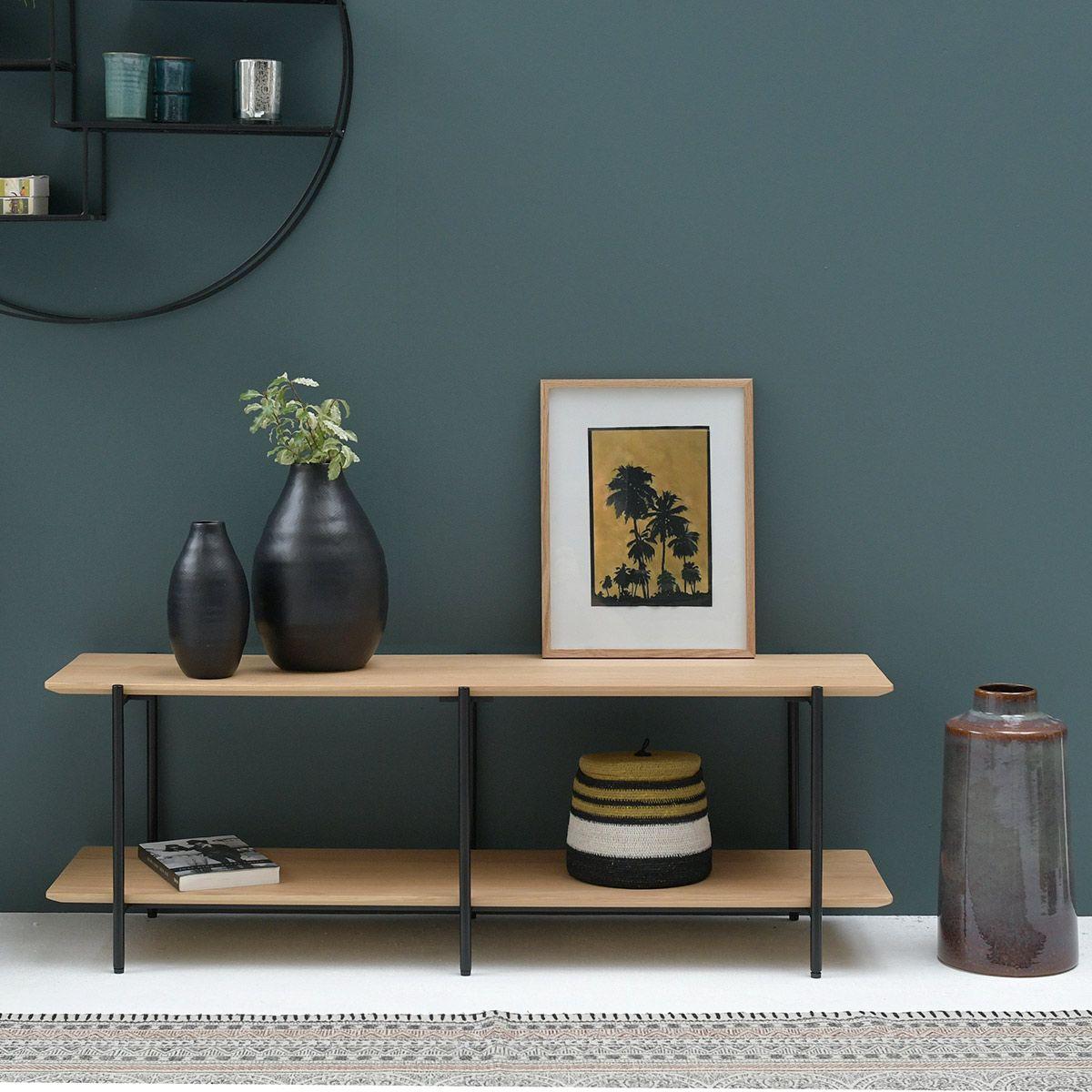 Meuble TV plaqué chêne pieds métal bois clair