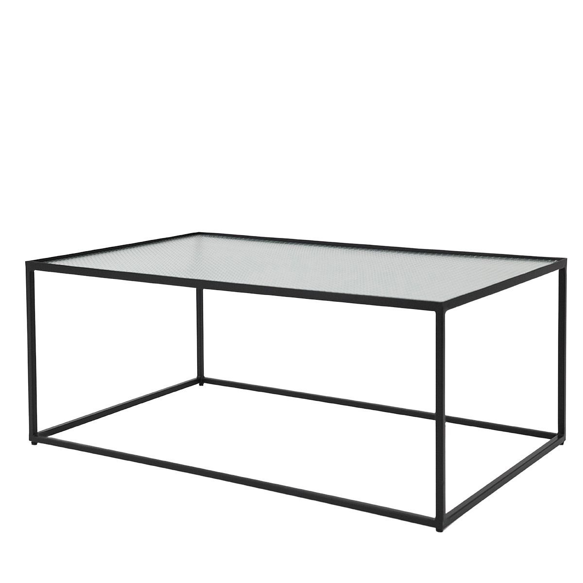 Table basse métal plateau verre noir