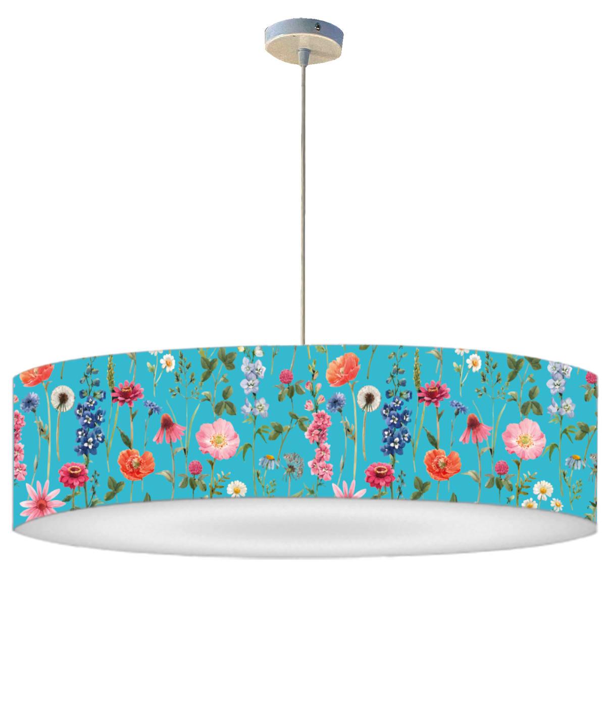 Suspension fleur bleue acidulée D 60 x H 30