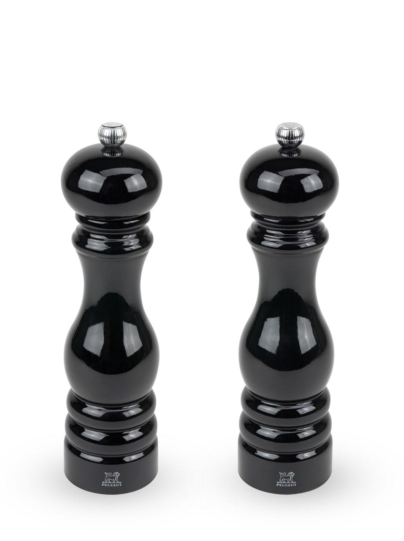 Duo de moulins à poivre et à sel en bois laqué noir H22cm
