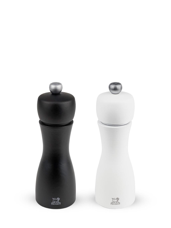 Duo de moulins à poivre et à sel en bois noir et blanc H15cm