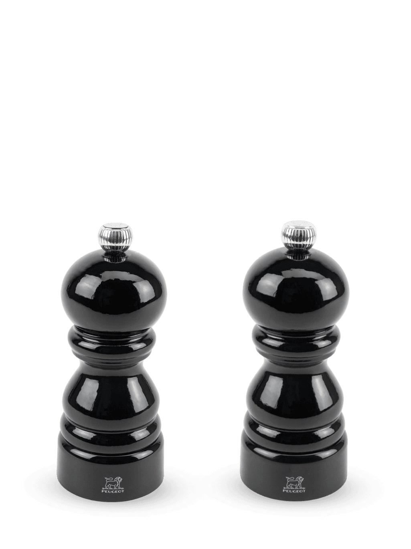 Duo de moulins à poivre et à sel en bois laqué noir H12cm