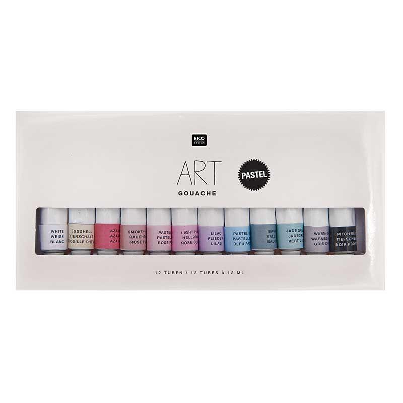 Set peinture gouache pastel 12x12ml