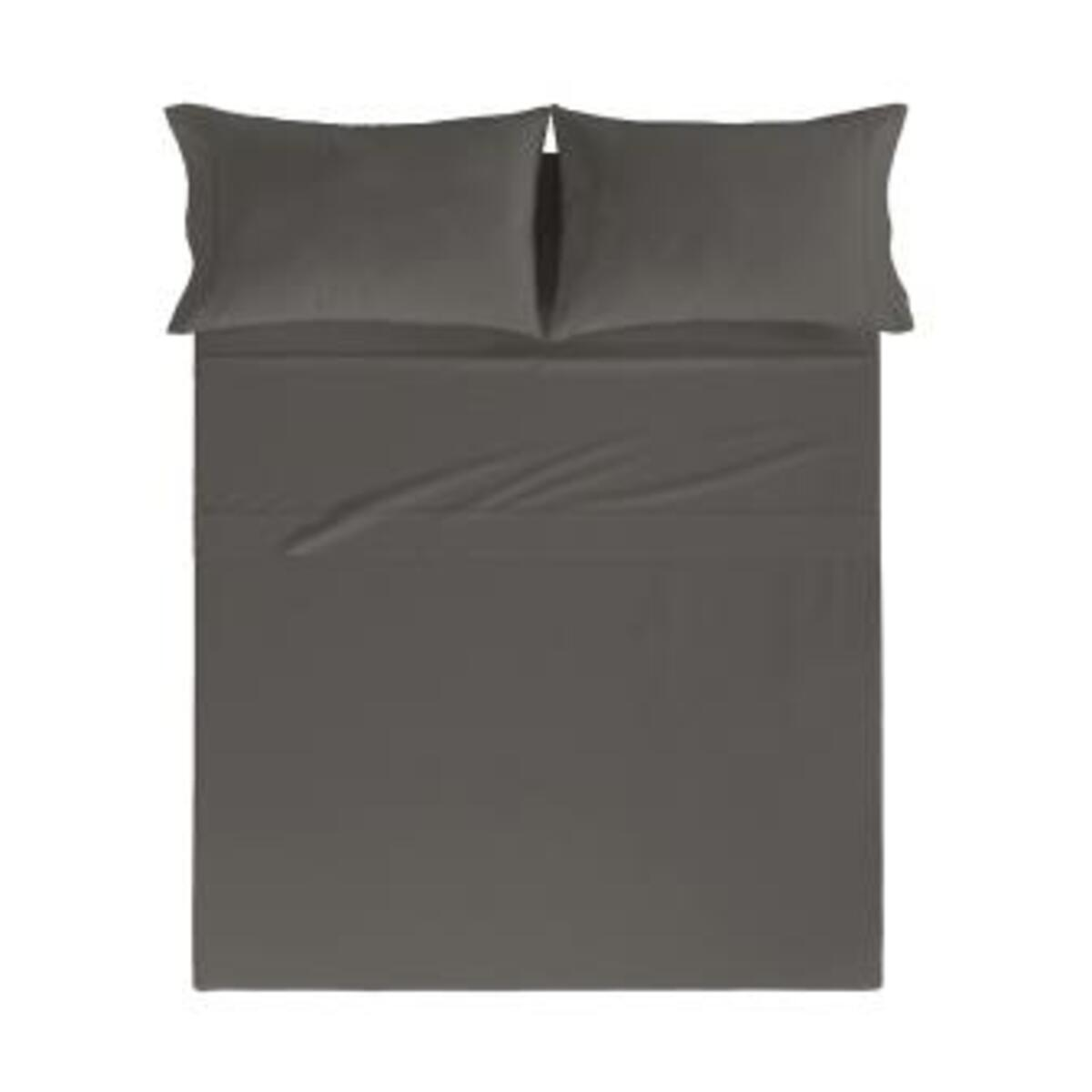 Drap de lit en coton percale anthracita 160x280