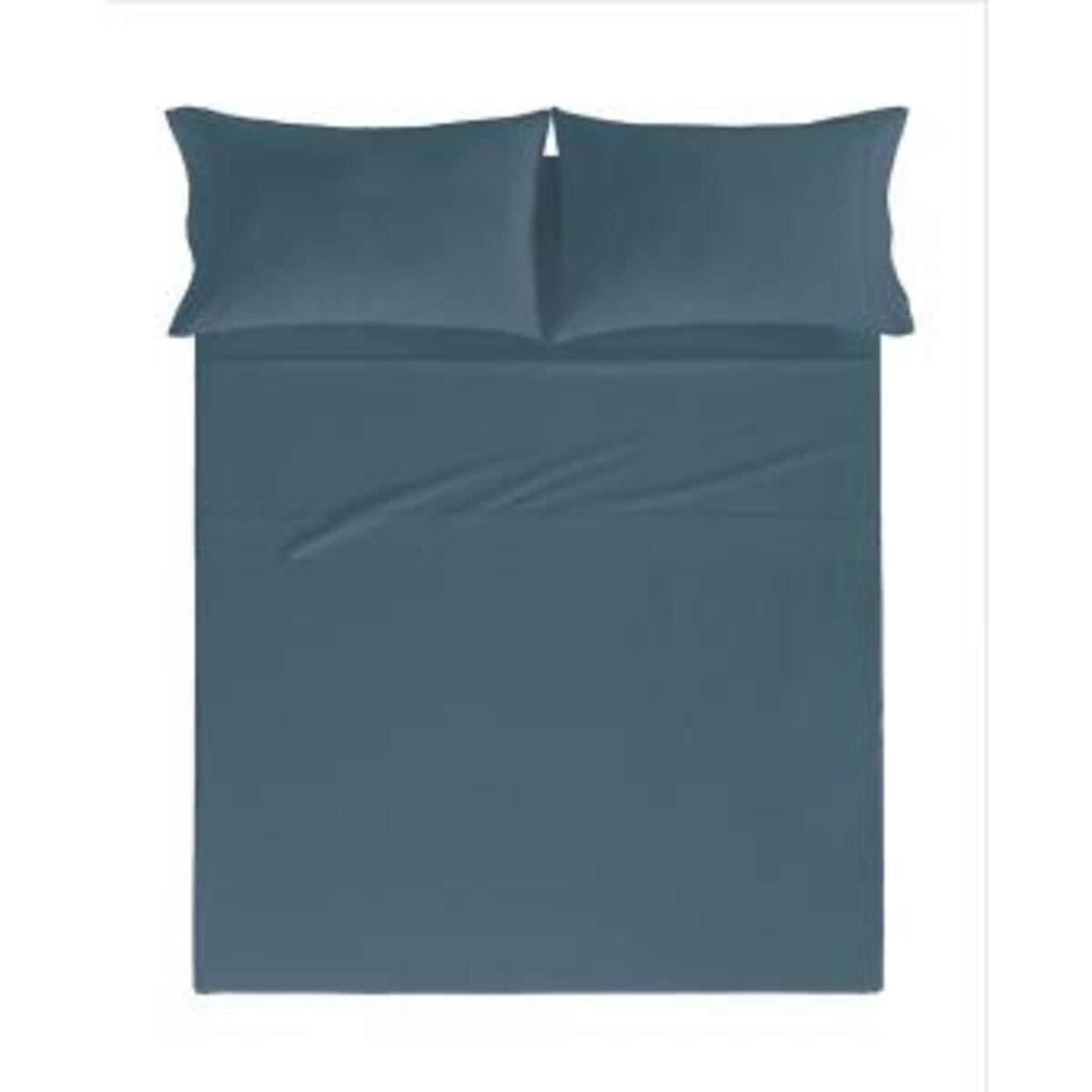 Drap de lit en coton percale pétrole 160x280