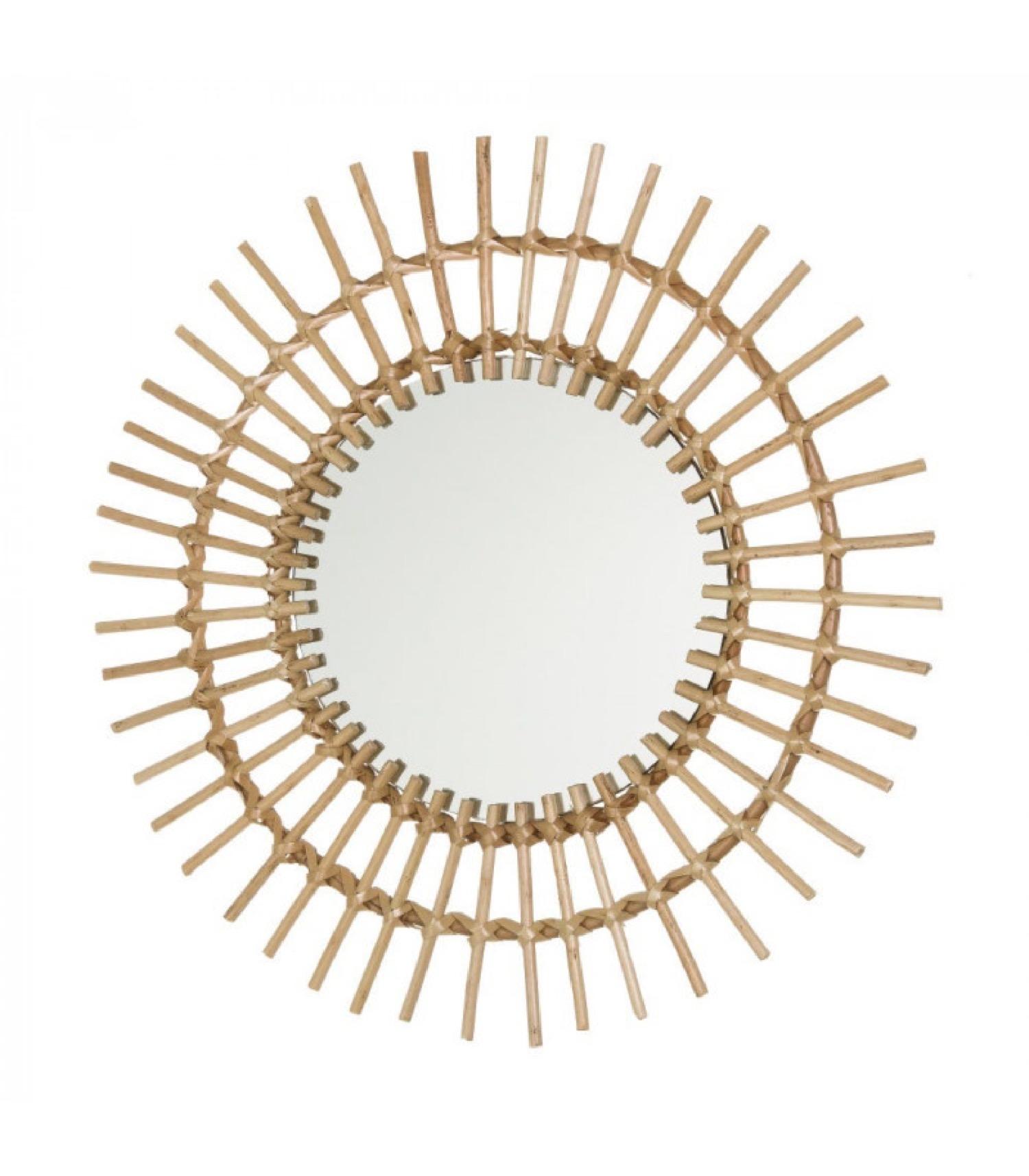 Miroir rond soleil rotin D50