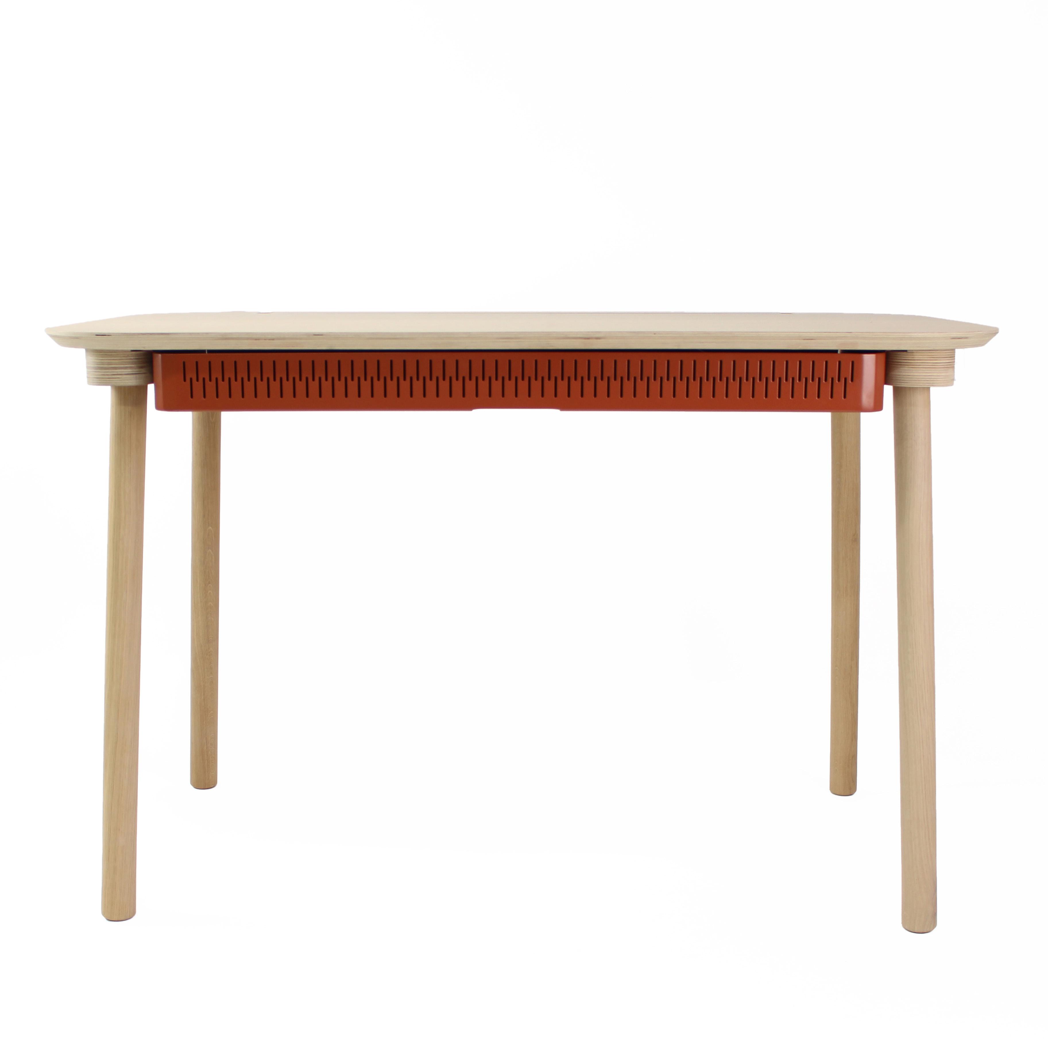 Bureau en chêne avec tiroir terracotta